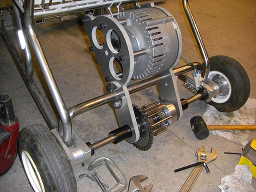 Fully assembled rear transaxle, minus chain.