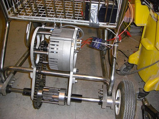 Large model airplane controller and servo tester strapped to the kart for testing...